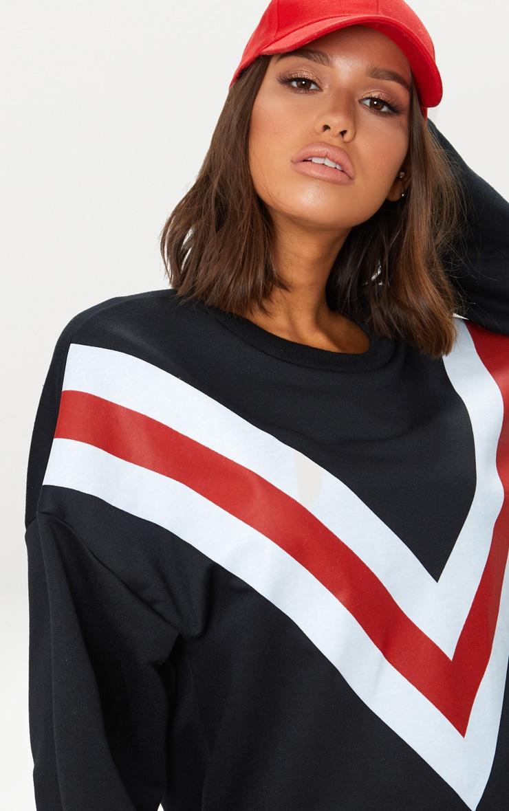 Black Chevron Oversized Sweater  5