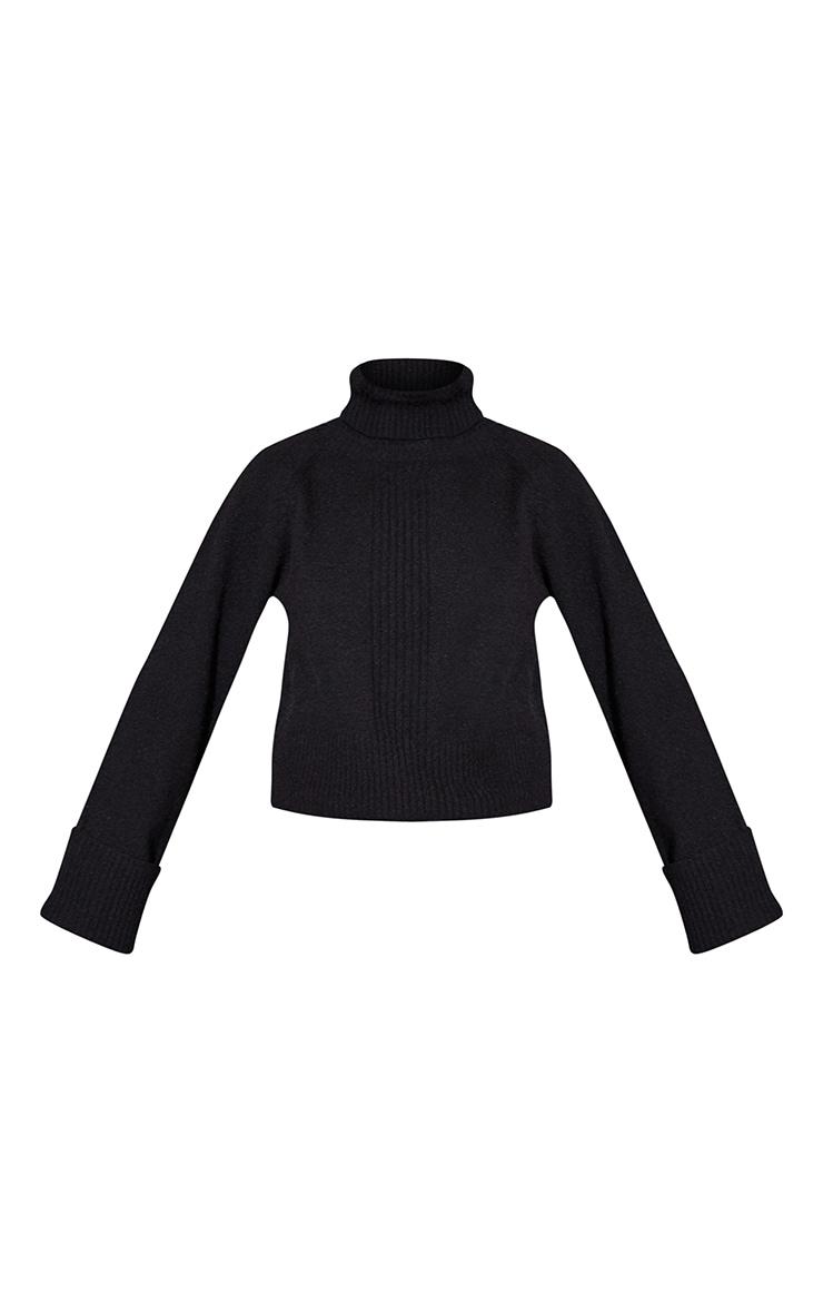 Black Deep Cuff Roll Neck Sweater 5