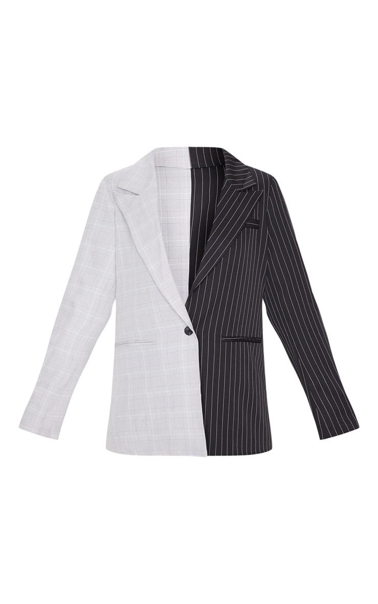 Black Pinstripe Contrast Dad Blazer 3