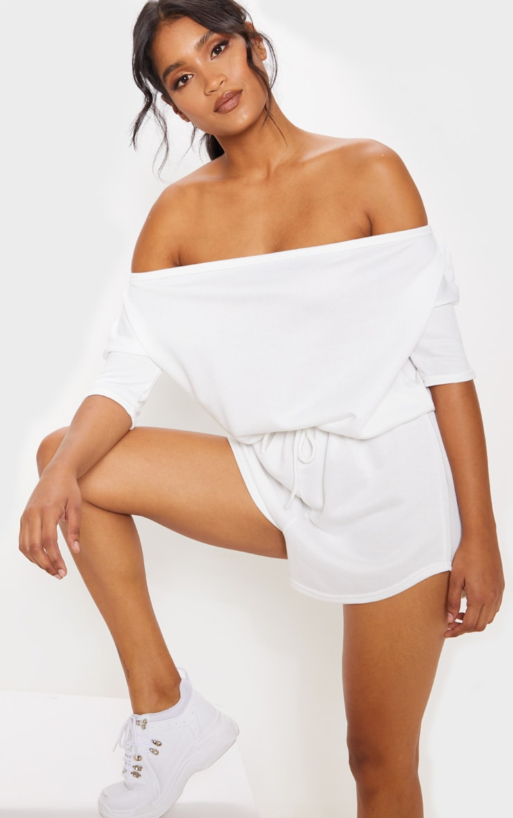 Cream Off The Shoulder Tie Waist Playsuit 4