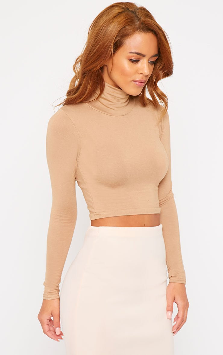Basic Camel Roll Neck Crop Top 1