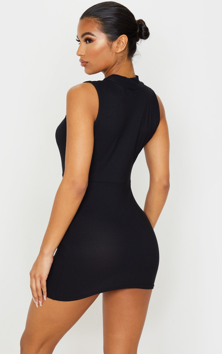 Black Plunge High Neck Bodycon Dress 2