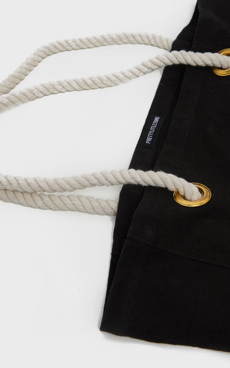 PRETTYLITTLETHING Black Cotton Beach Bag 3