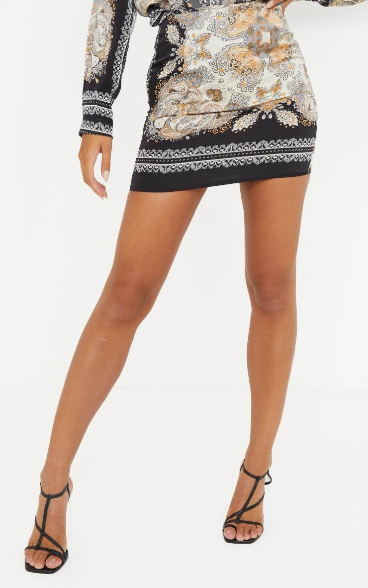 Black Chain Print Woven Mini Skirt 2