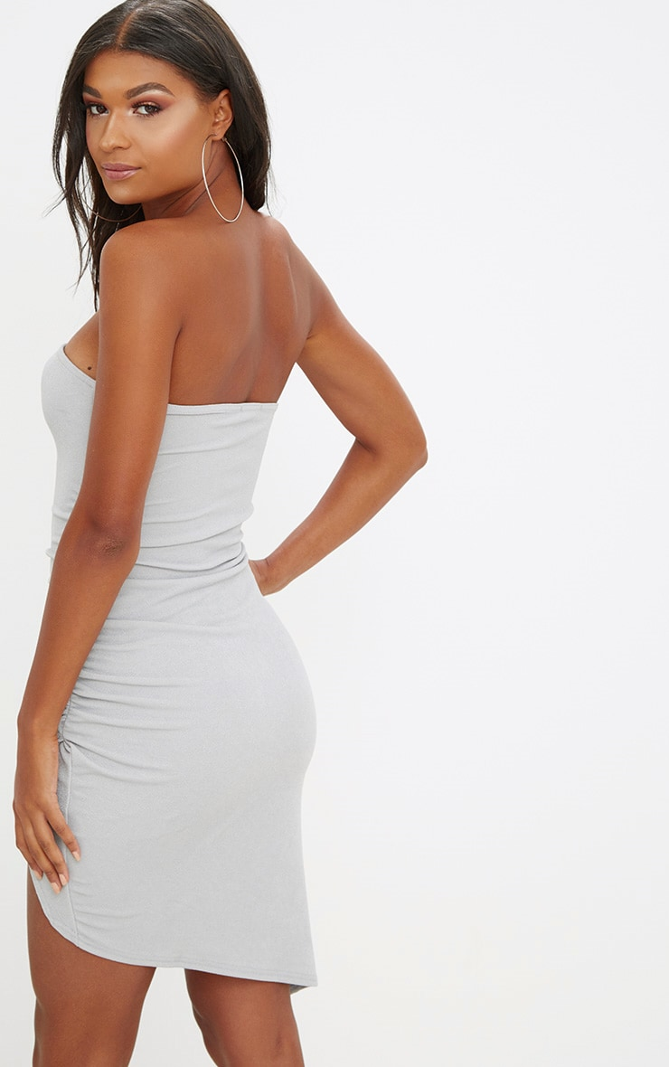 Ice Grey Bandeau Wrap Ruched Front Bodycon Dress 2