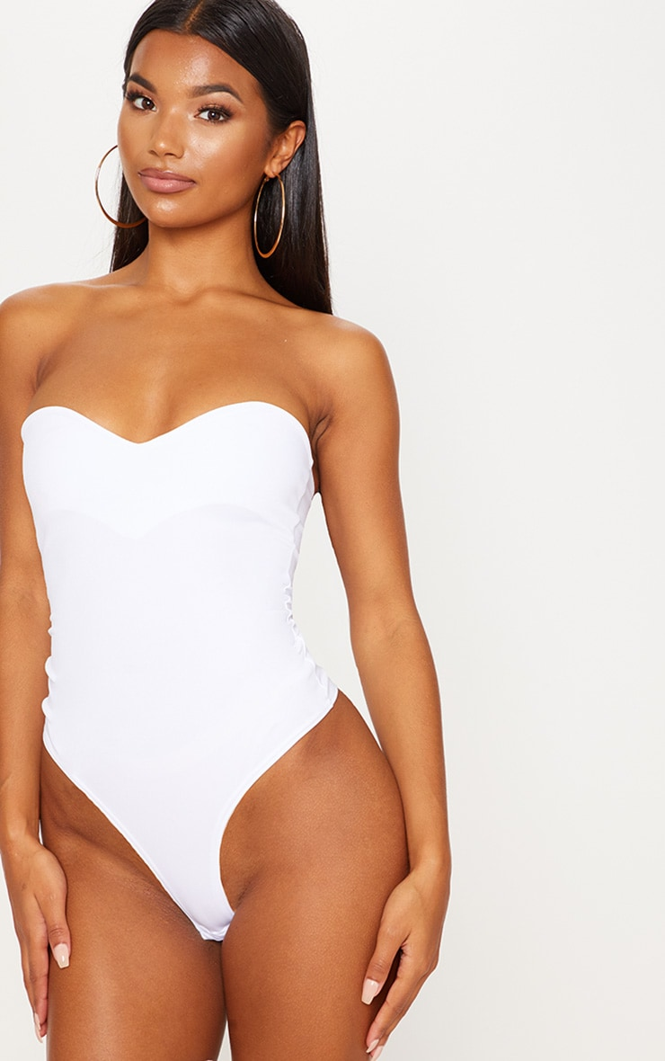 White Sweetheart Scuba Bodysuit 2