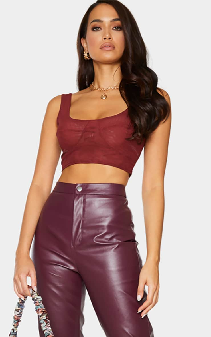 Chocolate Mesh Cupped Crop Top 3