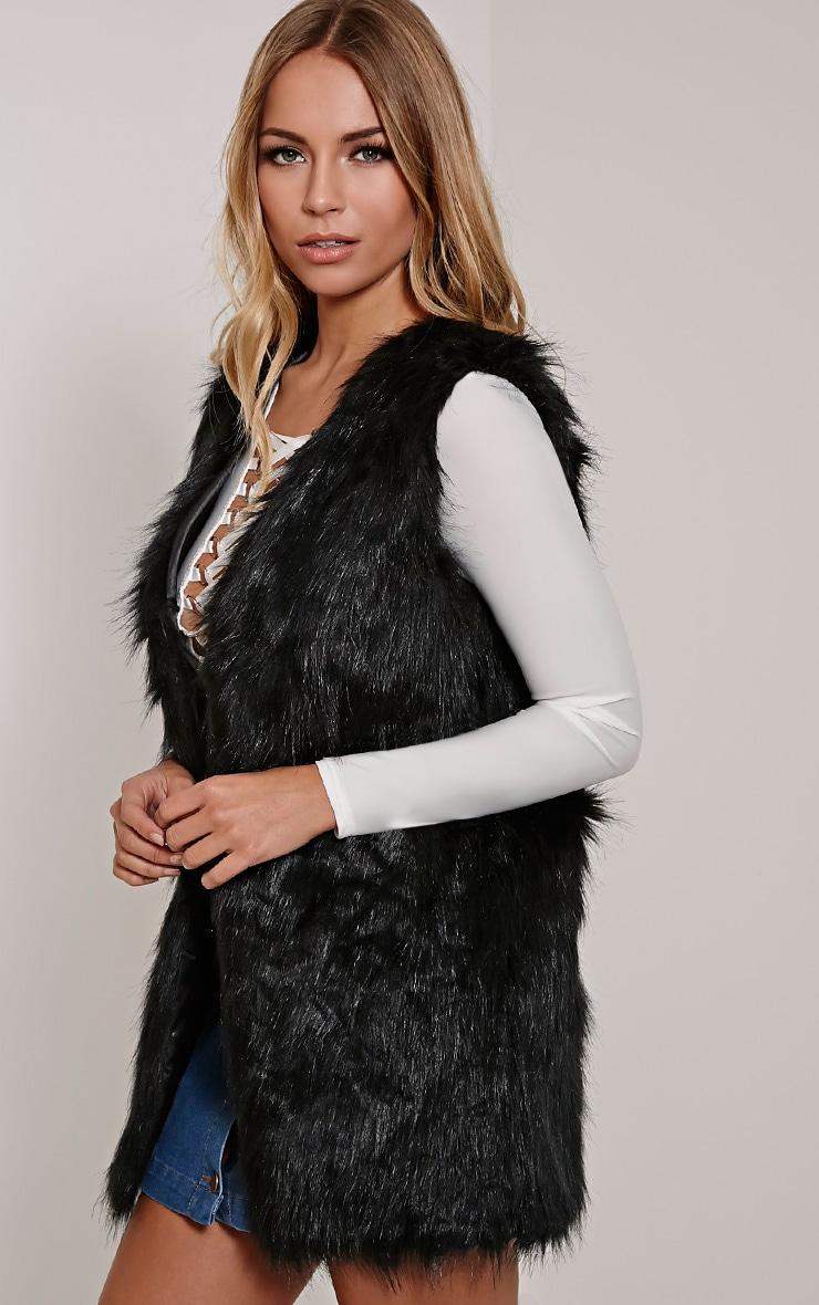 Cristina Black Faux Fur Gilet 3