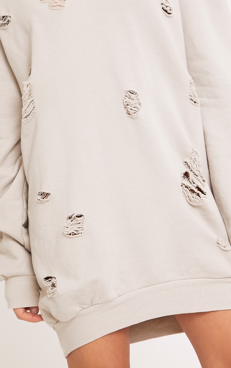 Raular Grey Distressed Hooded Sweater Dress 5