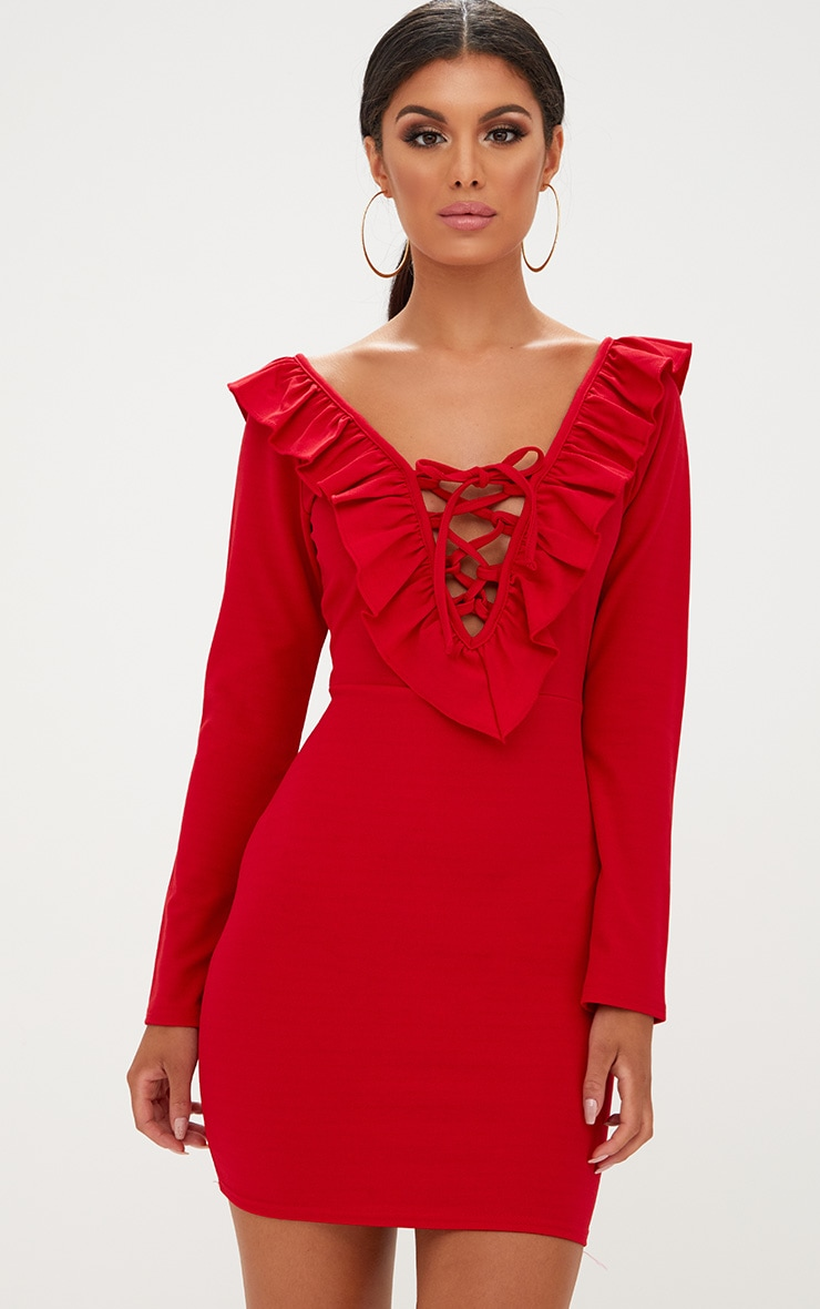 Red Frill Detail Lace Up Bodycon Dress 1