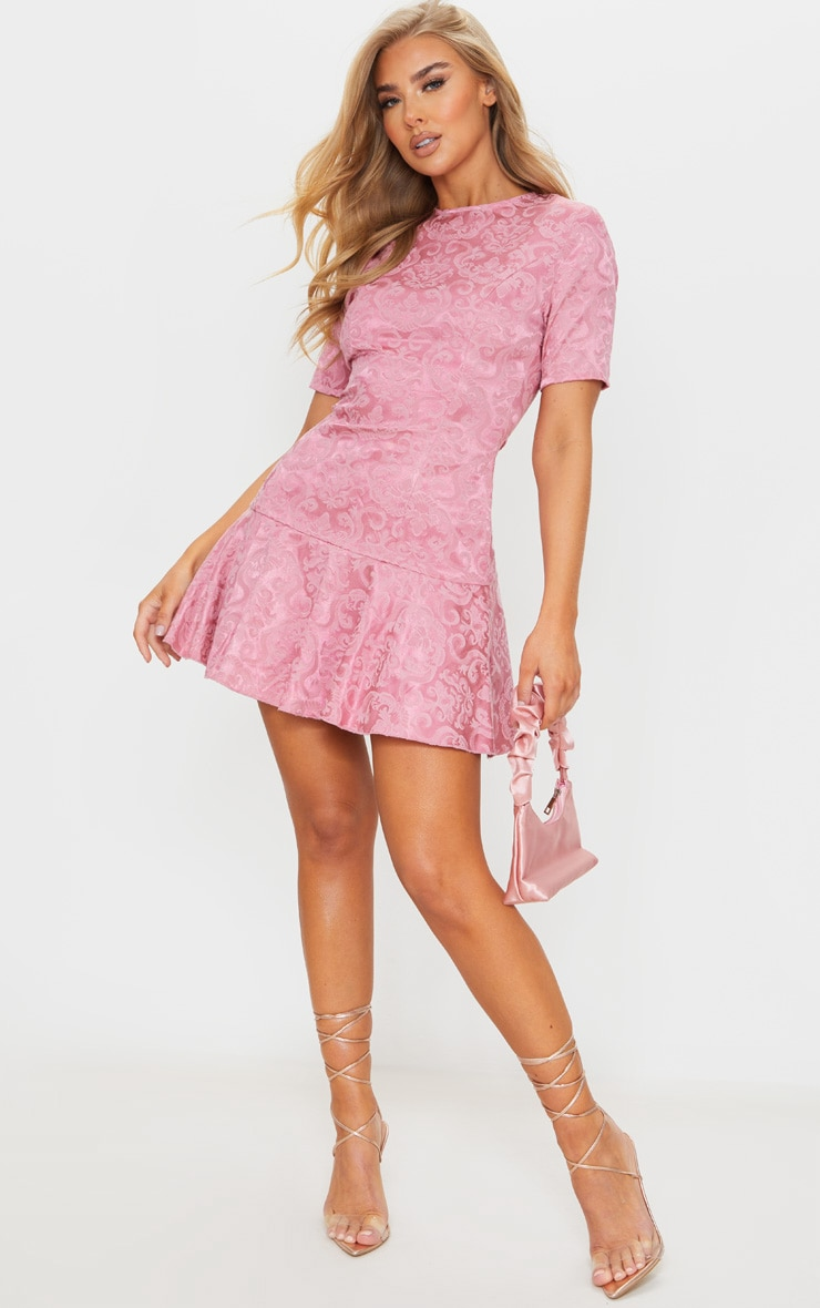 Rose Jacquard Frill Hem Short Sleeve Bodycon Dress 3