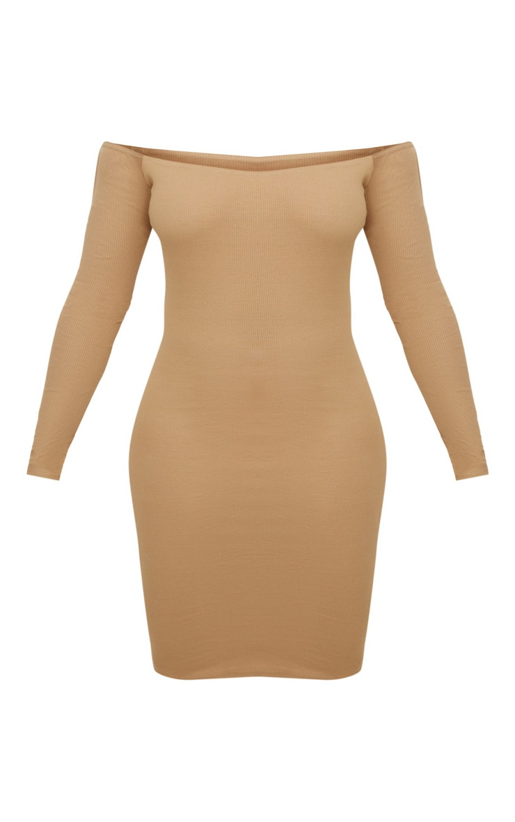 Plus Camel Second Skin Bardot Ribbed Long Sleeve Midi Dress 3