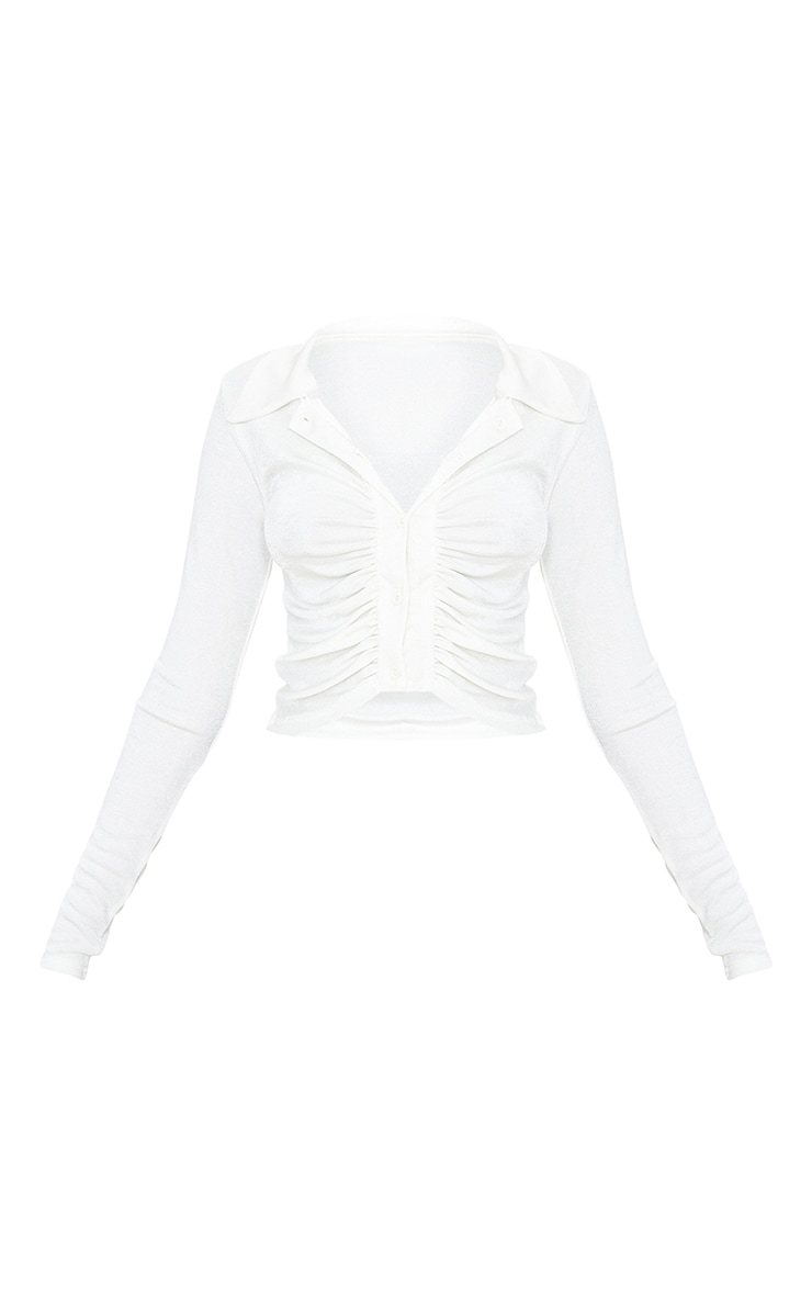 White Acetate Slinky Ruched Front Shirt 5