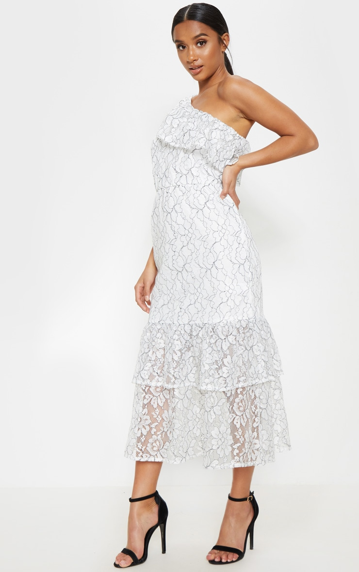 Petite White Off The Shoulder Multi Frill Midaxi Dress 3