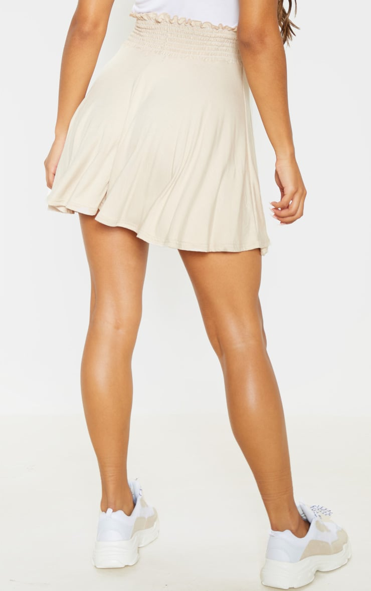 Stone Shirred Waistband Skater Skirt  4