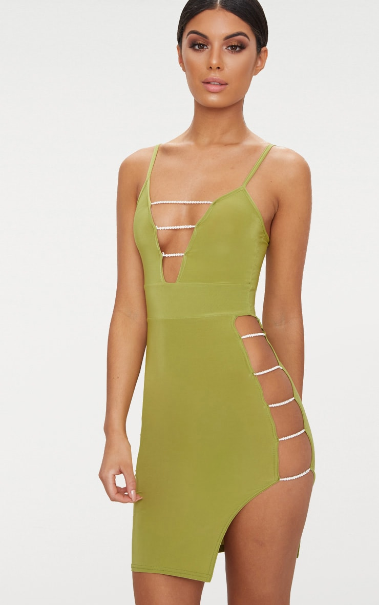 Olive Slinky Extreme Split Diamante Chain Detail Midi Dress 1