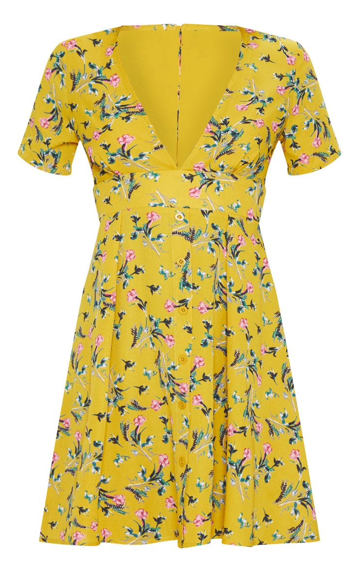 Mustard Floral Print Button Detail Tea Dress 3