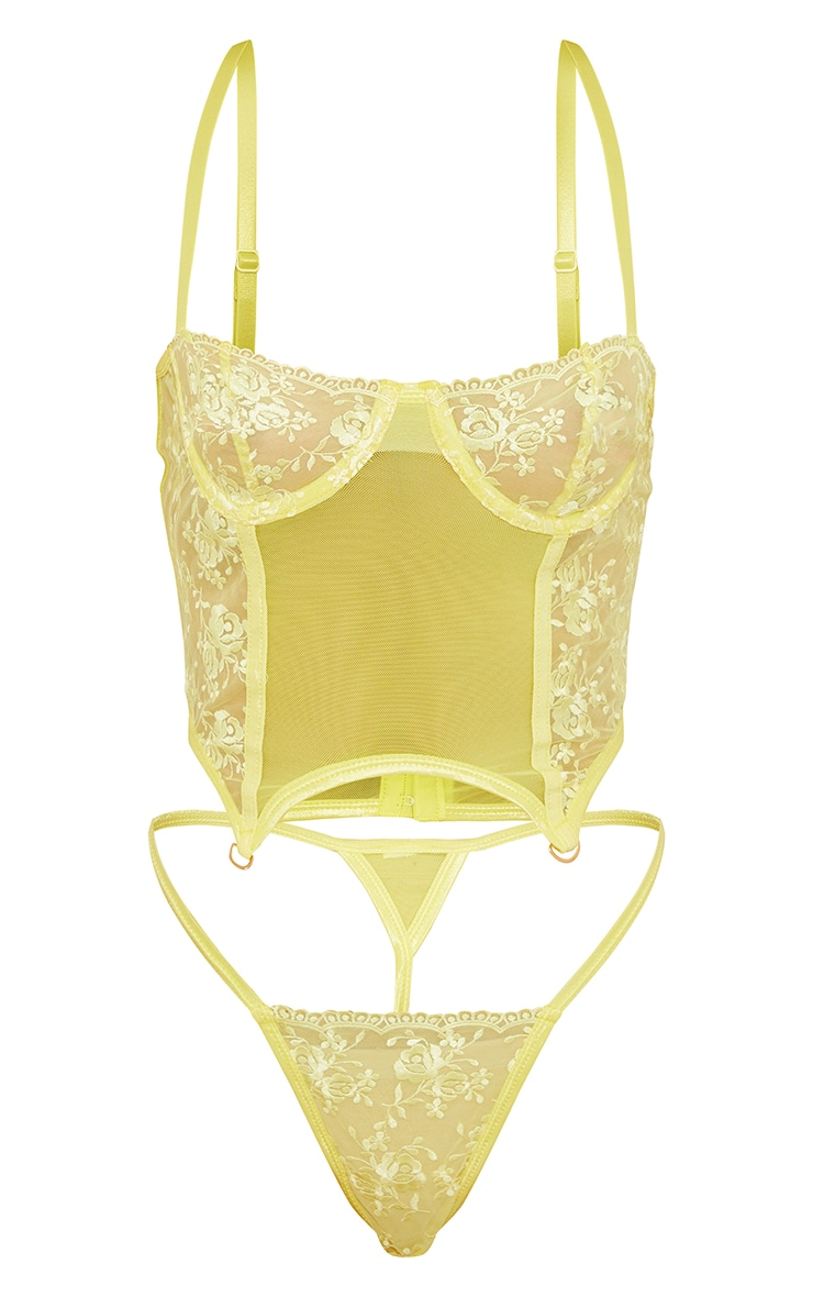 Yellow  Embroidered Lace Corset Lingerie Set 5