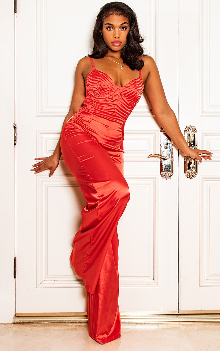 Red Satin Quilted Bust Wide Leg Jumpsuit