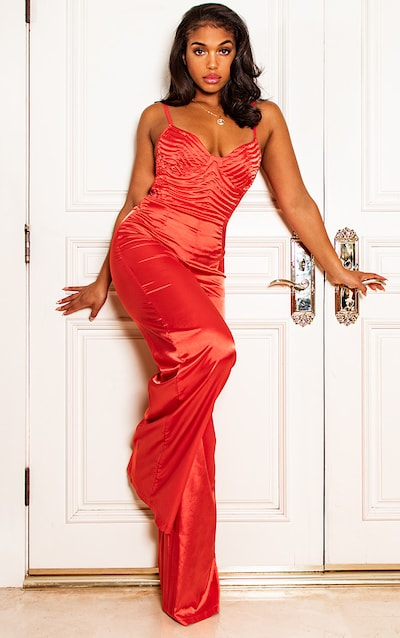 34a83f3e0b051 Red Satin Quilted Bust Wide Leg Jumpsuit