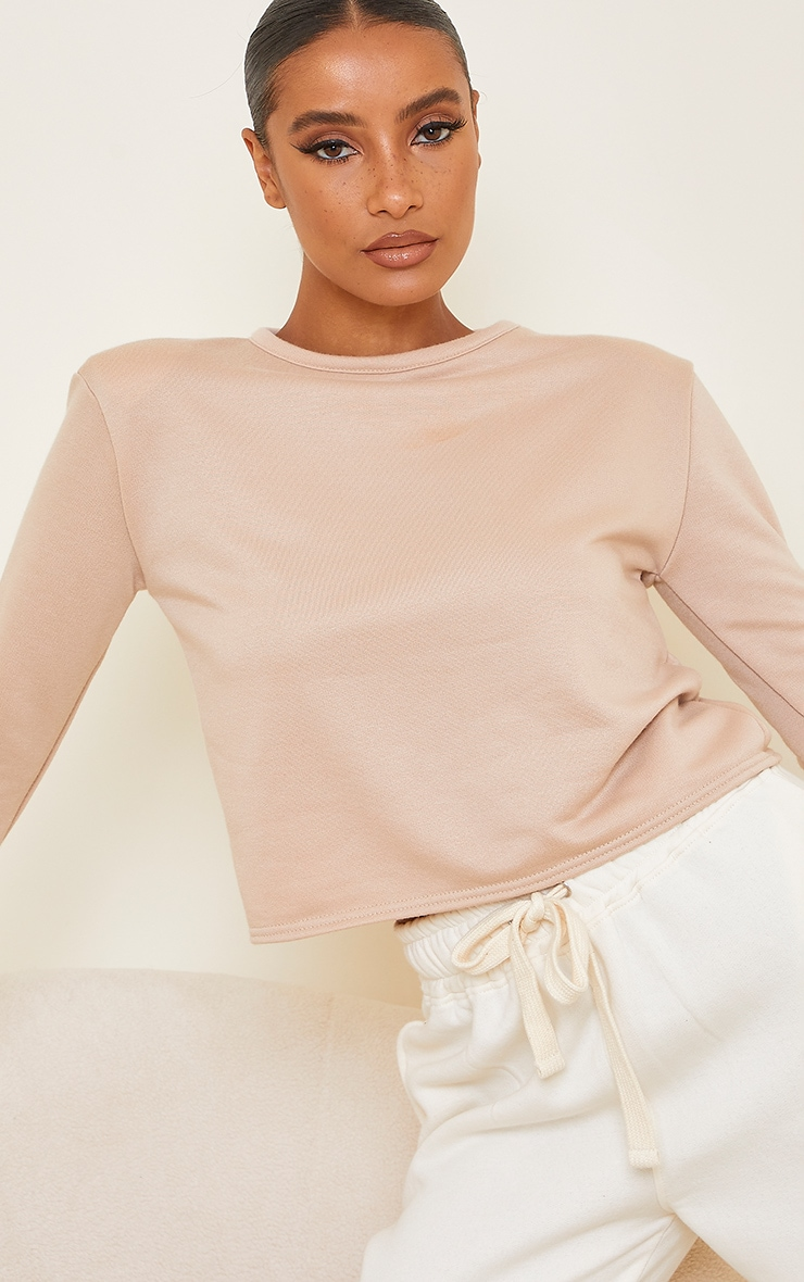 Stone Long Sleeve Shoulder Pad Top 4