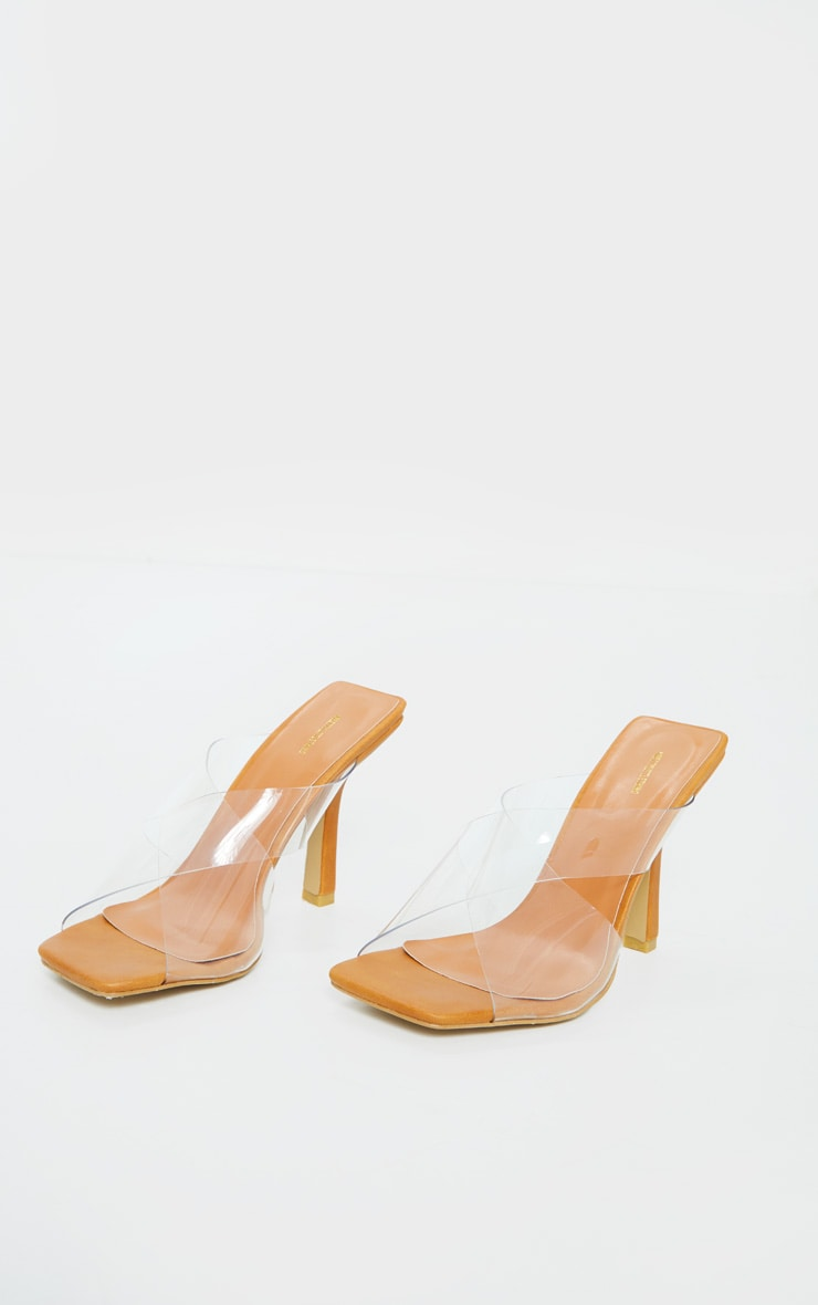 Sand Clear Cross Over Twin Strap Square Toe Mule Heels 3
