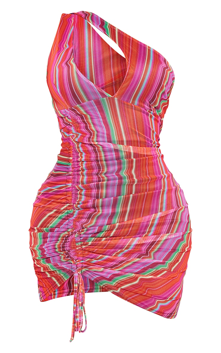 Shape Multi Stripe Mesh Halterneck Ruched Side Bodycon Dress 5
