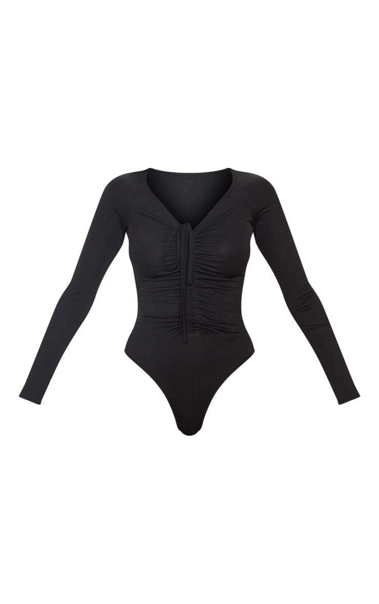 Black Ruched Front Long Sleeve Bodysuit 3