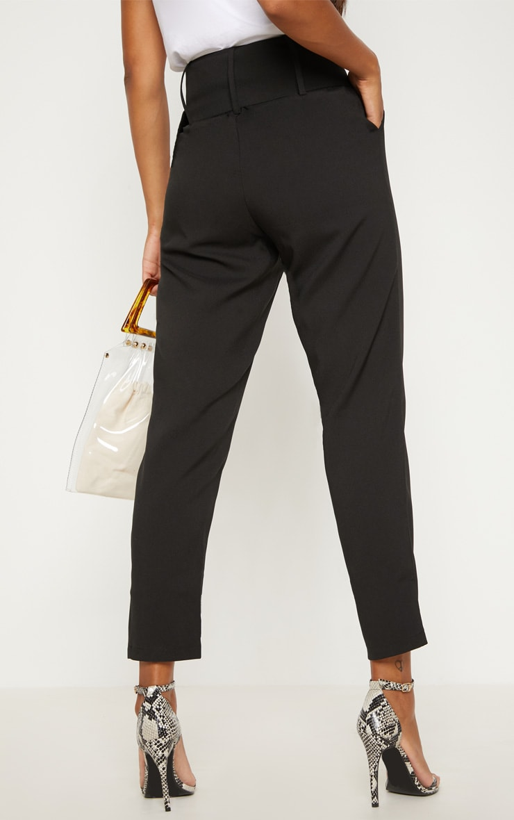 Black Super High Waisted Belted Tapered Trouser 4
