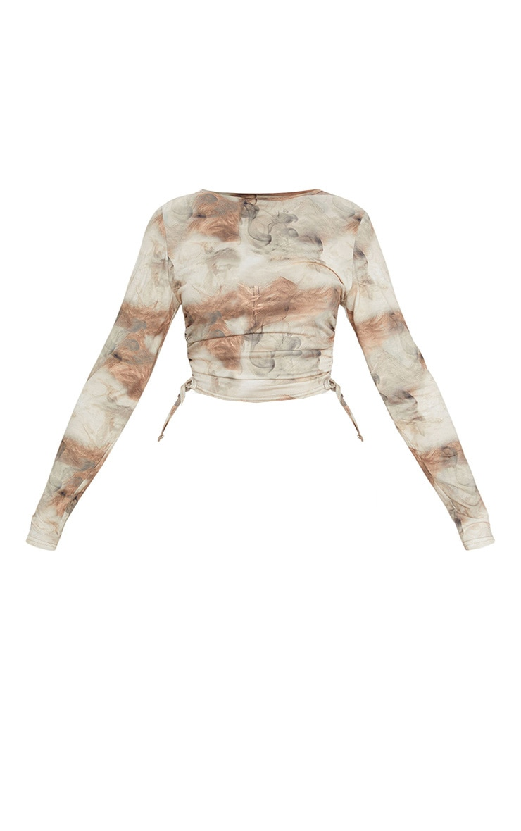 Beige Jersey Tie Ruched Side Long Sleeve Crop Top 5