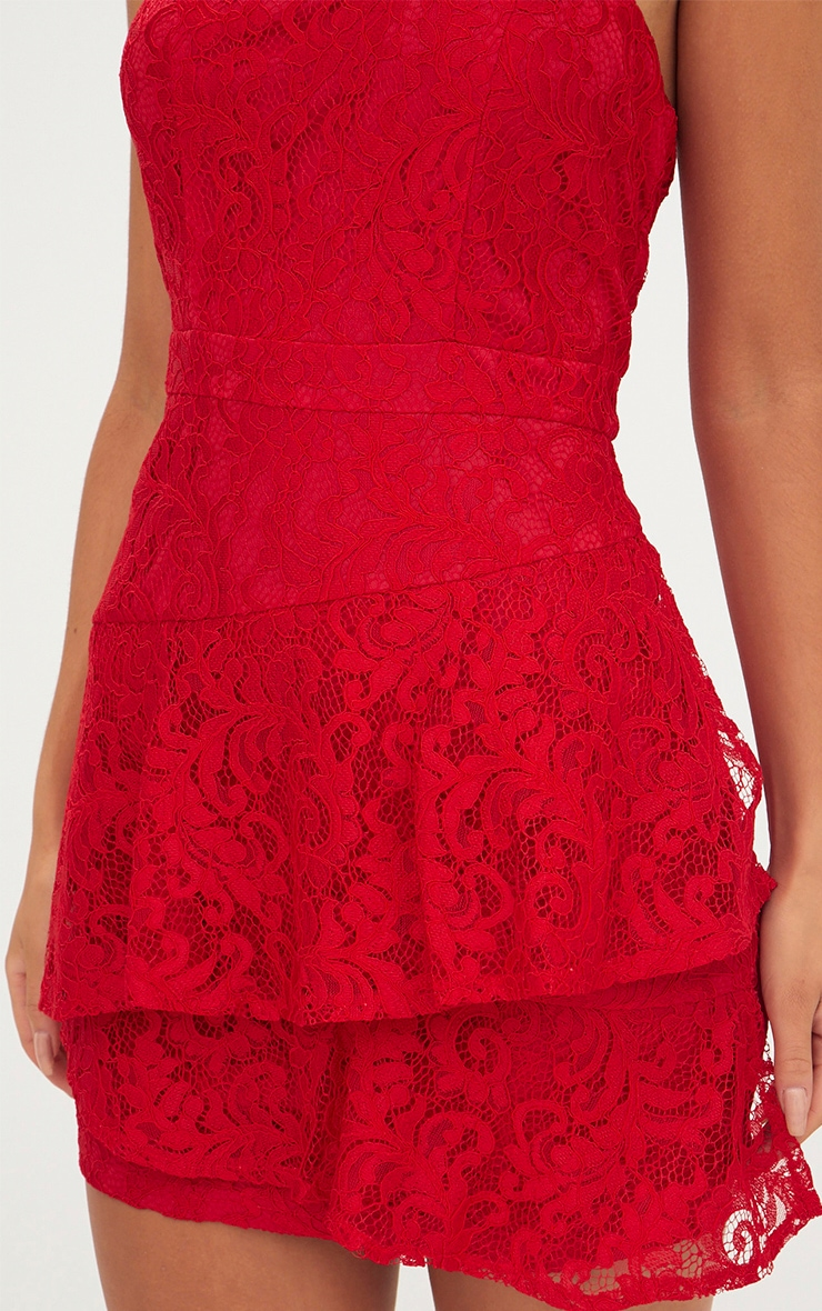Red Lace Frill Overlay Bandeau Bodycon Dress 5