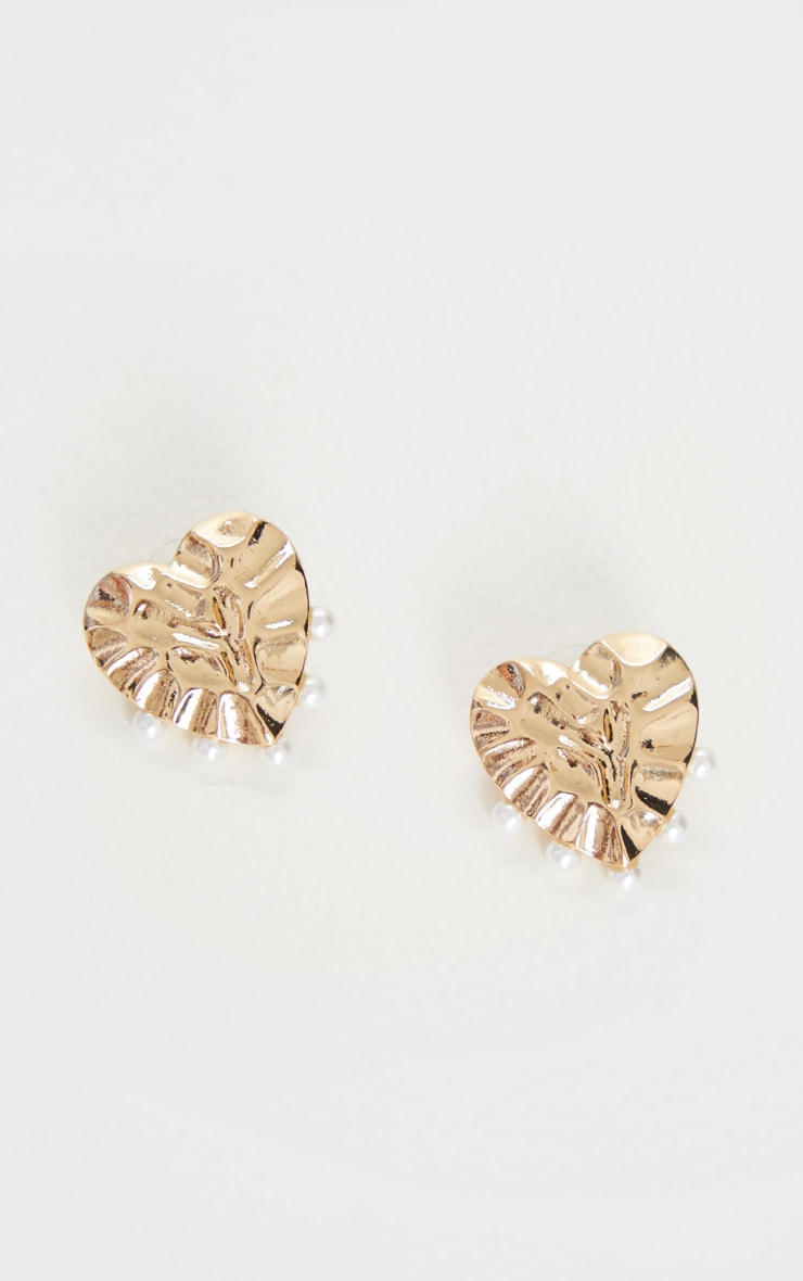 Gold Heart With Pearl Earrings 3