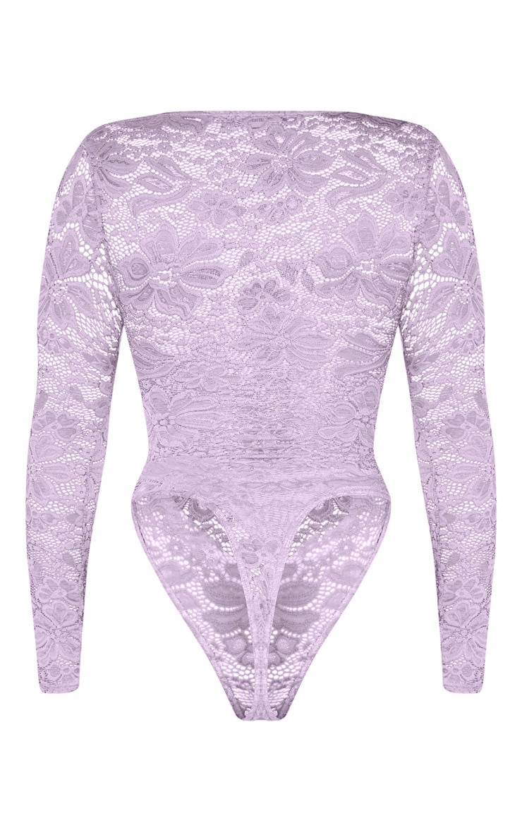 Shape Lilac Lace V Neck Long Sleeve Bodysuit 6