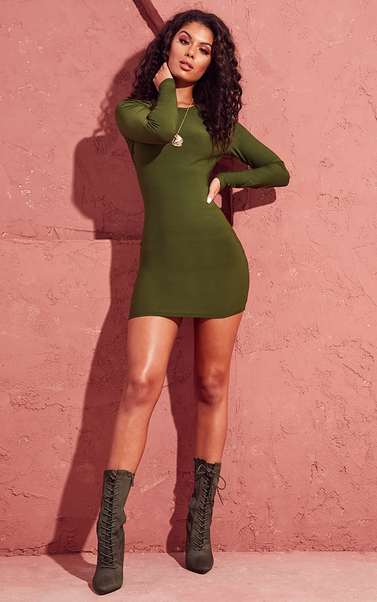 Khaki Long Sleeve Bodycon Dress 4