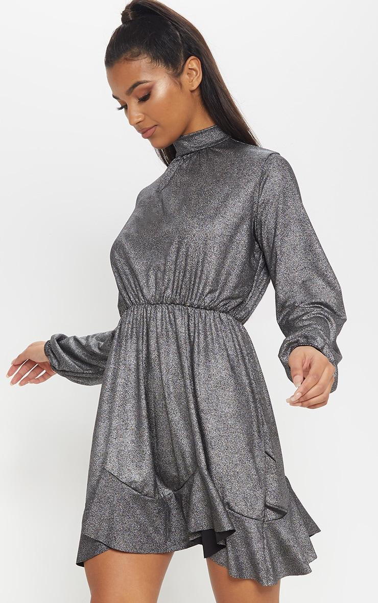 Silver Metallic High Neck Frill Hem Shift Dress 1