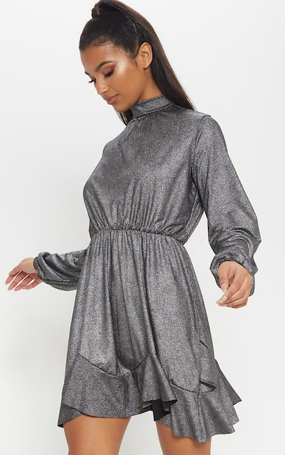 80464016df5 Silver Metallic High Neck Frill Hem Shift Dress