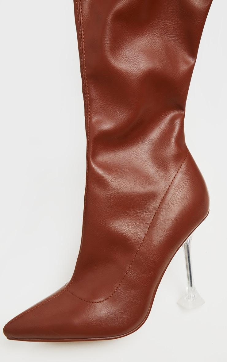 Tan Cake Stand Thigh High Sock Boot 4