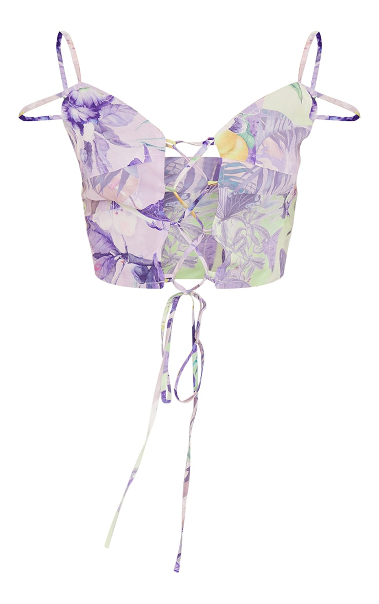 Lilac Printed Linen Look Raw Edge Lace Up Strappy Crop Top 5