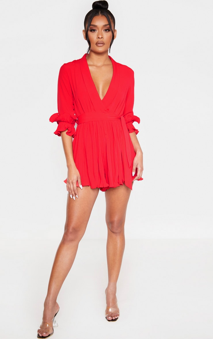 Red Frill Detail Pleated Romper 1