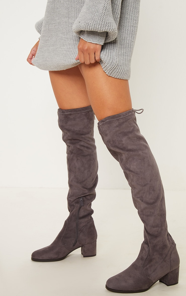 Grey Suede Block Heel Thigh Boot