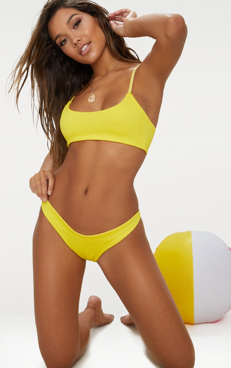 Yellow Crinkle Scoop Neck Bikini Top 1