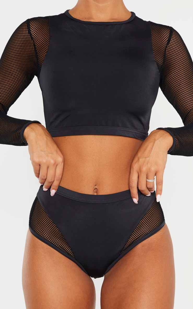 Black Fishnet Panel High Waist Bikini Bottom 5