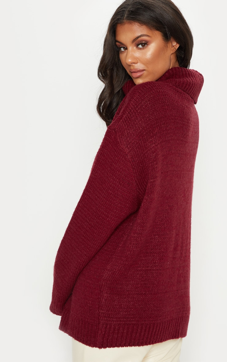 Burgundy High Neck Fluffy Knit Sweater  2