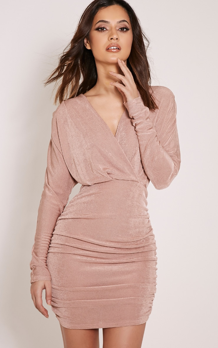 Gabrielle Blush Cape Ruched Bodycon Dress 1