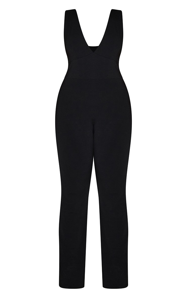 Plus Recycled Black Contour Jersey Flared Jumpsuit 5
