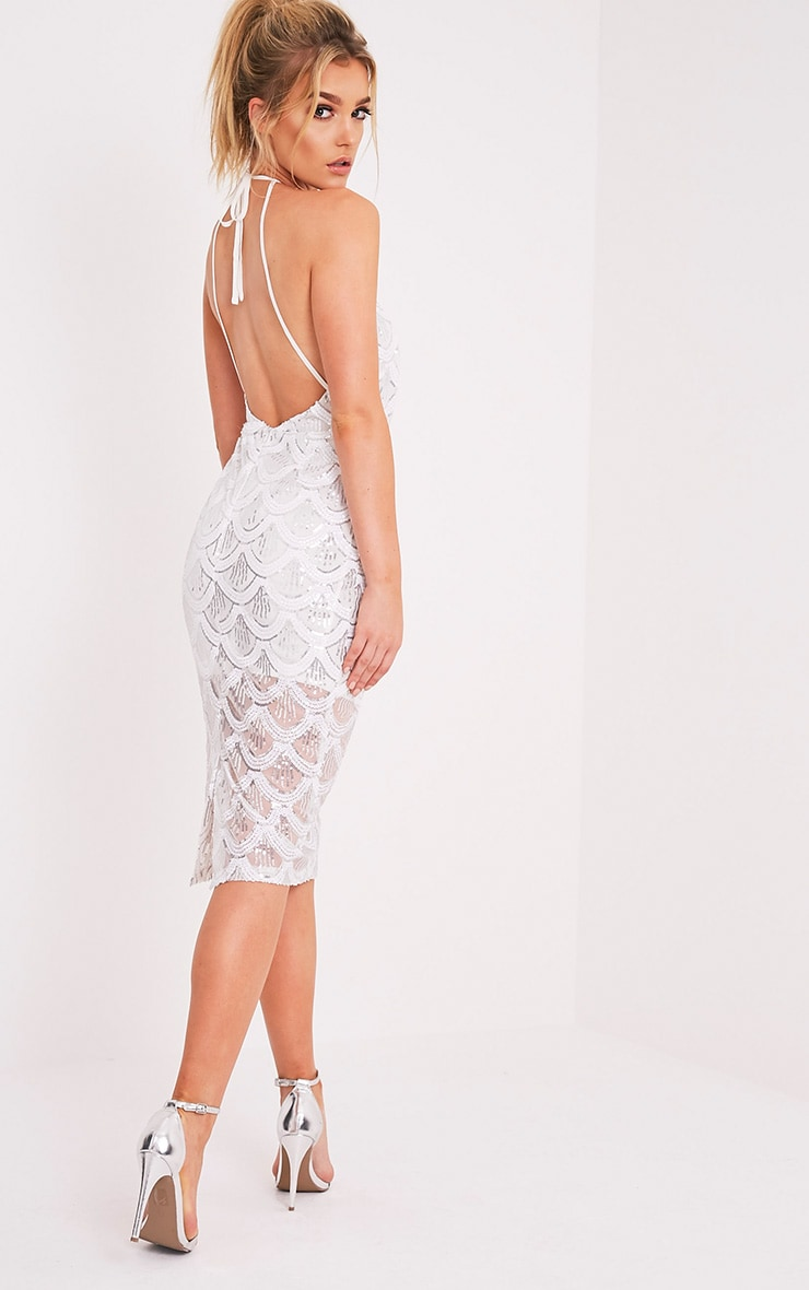 Amarie White High Neck Keyhole Sequin Midi Dress 4