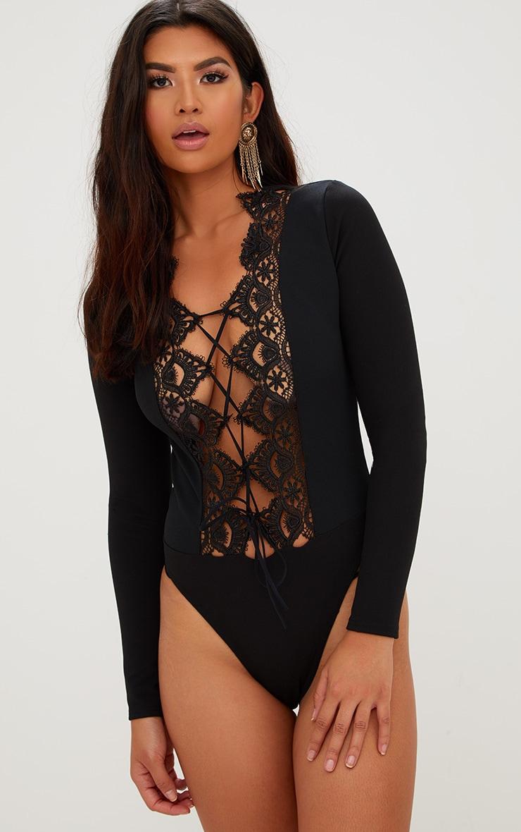 Black Lace Up Longsleeve Thong Bodysuit 2