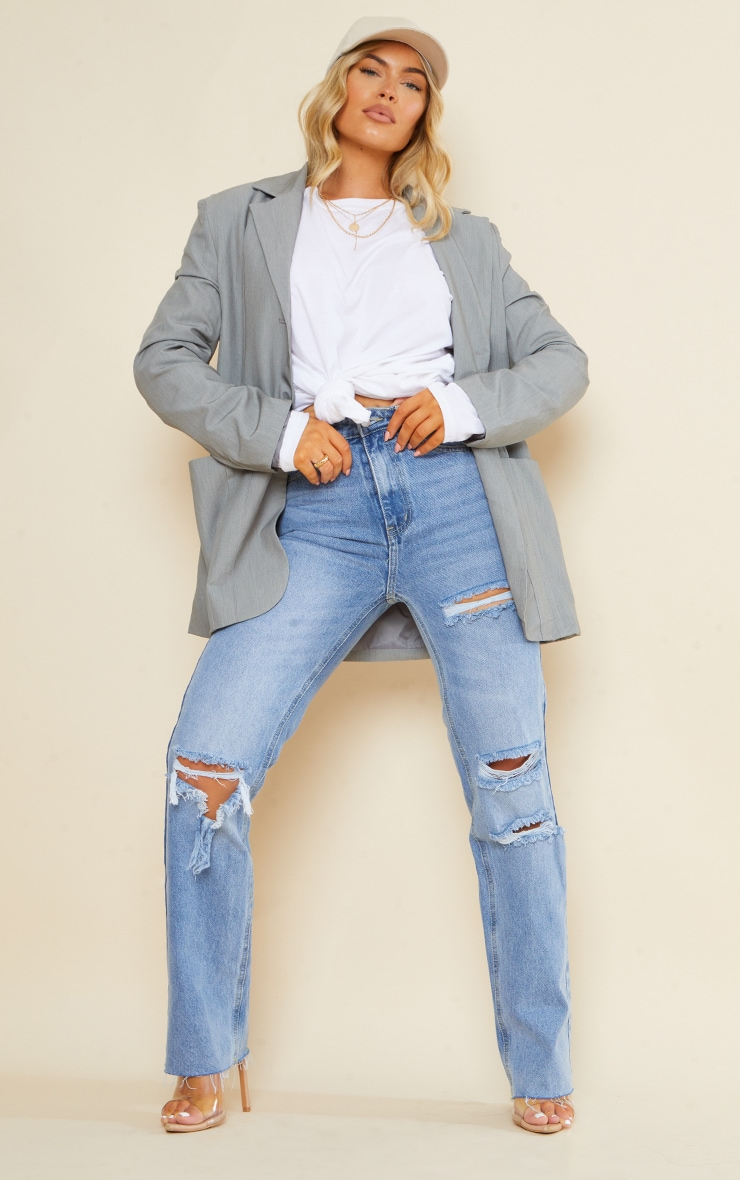 PRETTYLITTLETHING Light Blue Wash Ripped Long Leg Straight Jeans 1