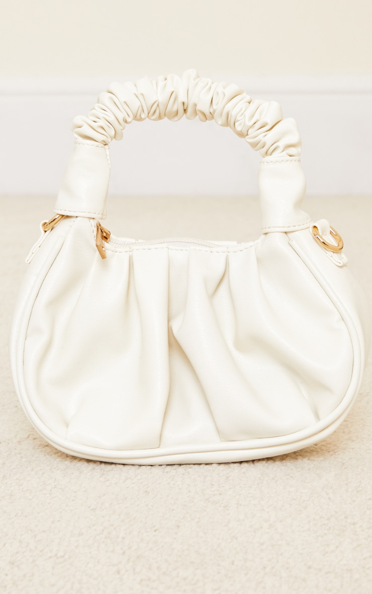 Cream Ruched Mini Grab Bag 1