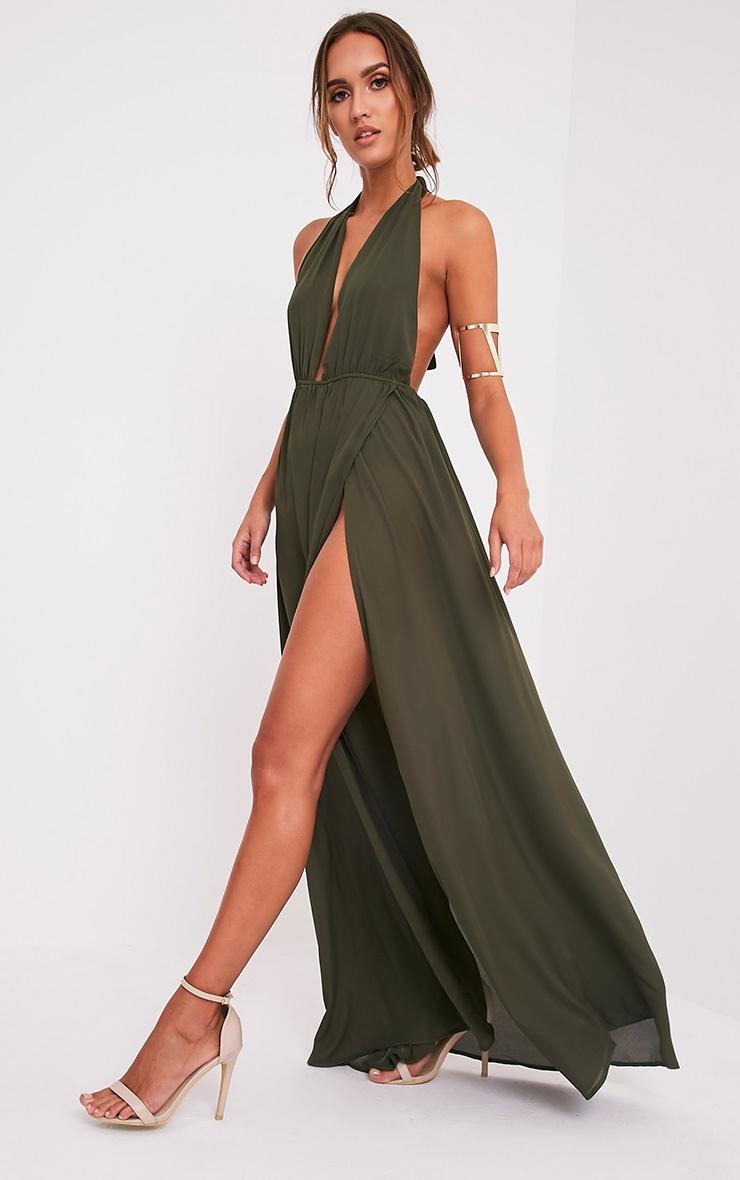 Alina Khaki Plunge Maxi Dress image 1